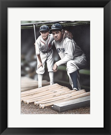 Framed Babe Ruth and the Bat Boy Print