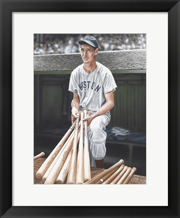 Framed Ted Williams on Deck Print