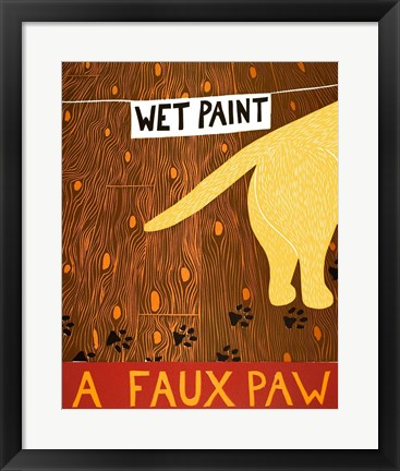 Framed Faux Paw Yellow Print