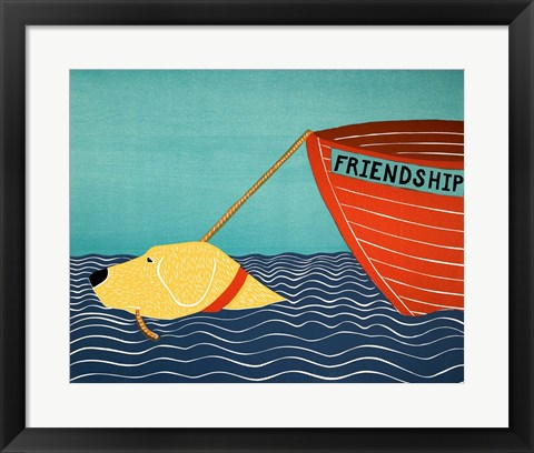 Framed Boat Friendship Yellow Print