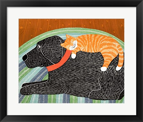 Framed Catnap Striped no Bubble Print
