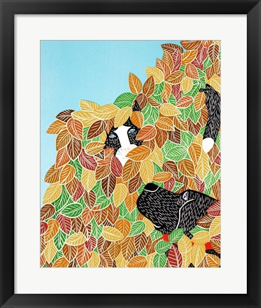 Framed Dog and Cat Autumn Print