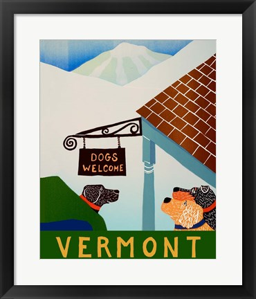 Framed Dogs Welcome Vermont Inn Print