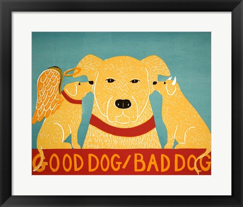 Framed Good Dog Bad Dog Yellow Print
