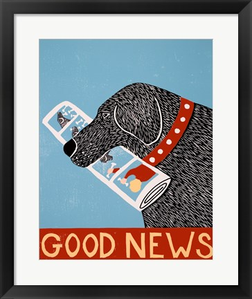 Framed Good News Dog Black Print
