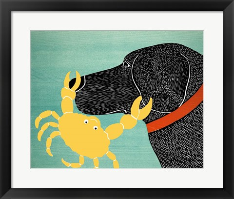 Framed Crab Black Dog Yellow Crab Print