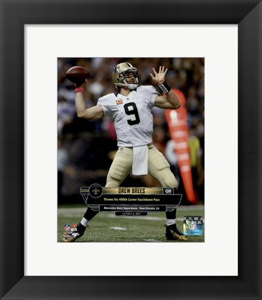 Framed Drew Brees 400th Career Touchdown Pass October 4, 2015 in New Orleans, Louisiana Print