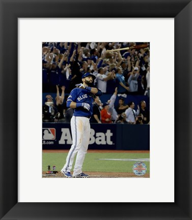 Framed Jose Bautista three-run Home Run Game 5 of the 2015 American League Division Series Print
