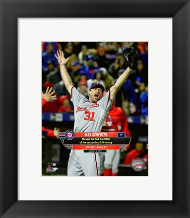 Framed Max Scherzer celebrates his 2nd No-Hitter of the season- October 3, 2015 Print