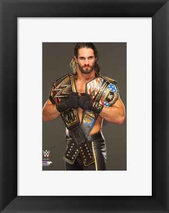 Framed Seth Rollins with the World Heavyweight & United States Champions Belts 2015 Print