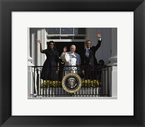 Framed First Lady Michelle Obama, Pope Francis and President Barack Obama Print