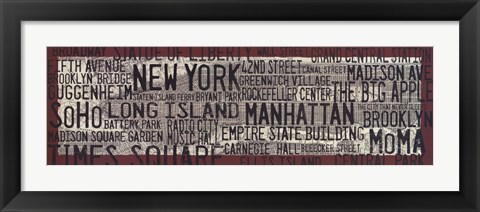 Framed NYC Map Red Print