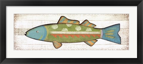 Framed Folk Art Fish II Print