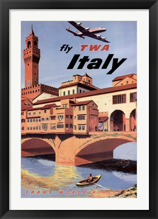 Framed Fly To Italy Print