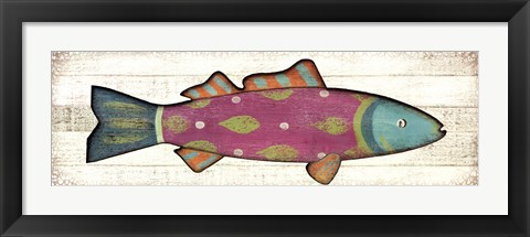Framed Folk Art Fish I Print