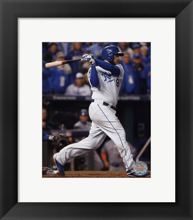 Framed Mike Moustakas RBI Single Game 2 of the 2015 World Series Print