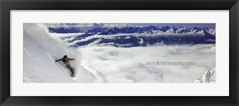 Framed Snowboarder - Life is better when you shred Print
