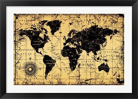Framed World Map - Old Style Print