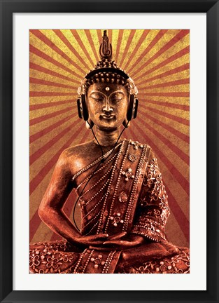 Framed Mclfy - Buddha Wearing Headphones Print