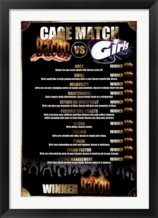 Framed Cage Match: Bacon Vs. Girls Print