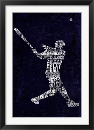 Framed Type Baseball Blue Print