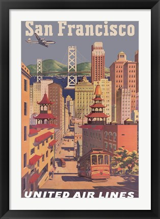 Framed Fly to San Francisco I Print