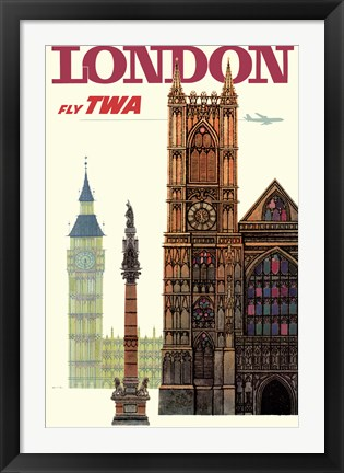 Framed Fly to London Print