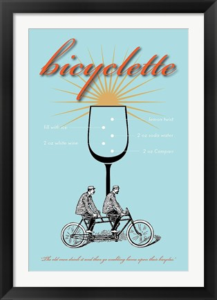 Framed Bicyclette Recipe Print