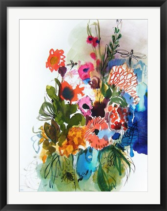 Framed Flowers and Insects One Print