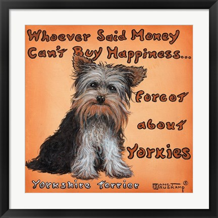 Framed Yorkies = Happiness Print