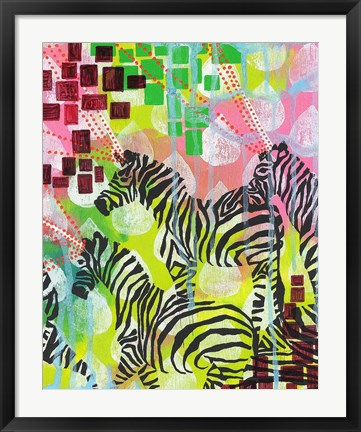 Framed Mind Reading Zebras Print