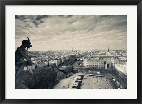Framed City viewed from the Notre Dame Cathedral, Paris, Ile-de-France, France Print