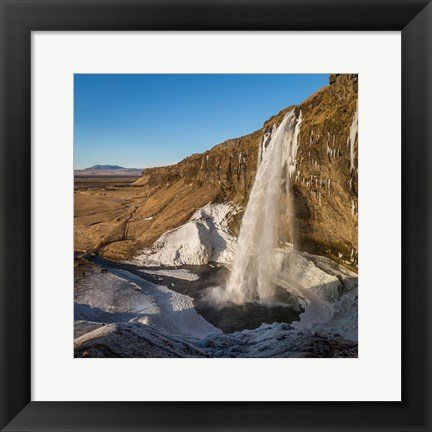 Framed Seljalandsfoss Waterfall in the Winter, Iceland Print