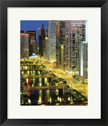 Framed Skyscrapers at Night, Chicago River, Illinois Print