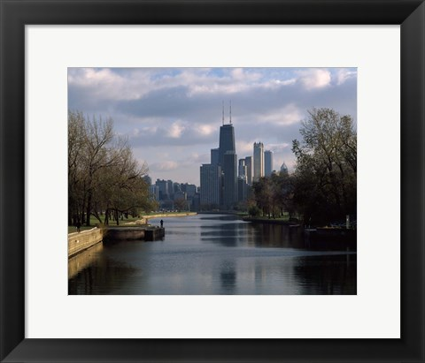 Framed Lincoln Park Lagoon, Chicago, Cook County, Illinois Print