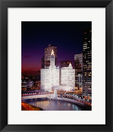Framed Wrigley Building, Michigan Avenue, Chicago Print