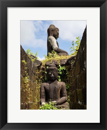 Framed Buddha statues at Koe Thaung Temple, Myanmar Print
