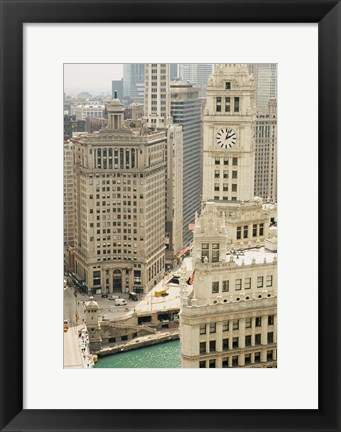 Framed Clock tower along a river, Wrigley Building, Chicago River, Chicago, Illinois, USA Print