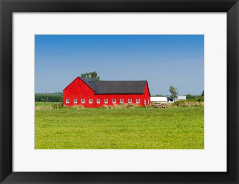 Framed Red barn in Grenville County in Ontario, Canada Print