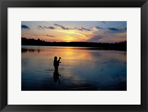 Framed Fly Fisherman, Mauthe Lake, Kettle Moraine State Forest Print