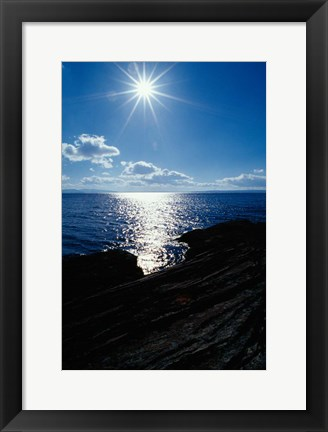 Framed Sunstar Over Yellowstone Lake Print