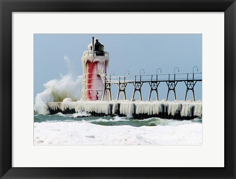 Framed South Pier Lighthouse, South Haven, Michigan Print