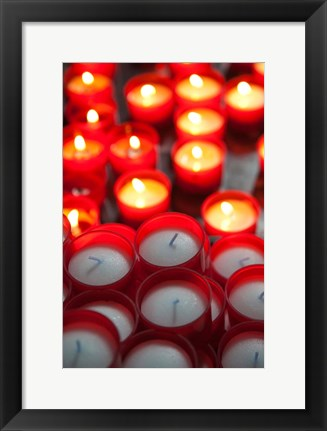 Framed Votive candles in a Cathedral, Como Cathedral, Lombardy, Italy Print