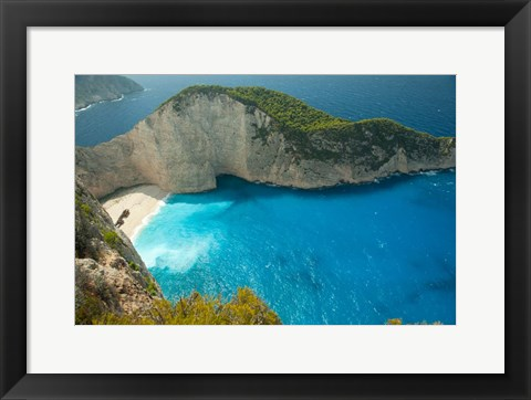 Framed Shipwreck Bay, Zakynthos, Ionian Islands, Greece Print