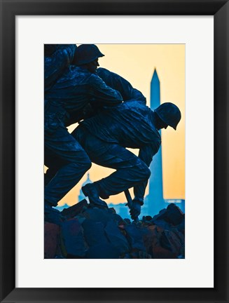 Framed Iwo Jima Memorial at Dusk, Arlington National Cemetery, Arlington, Virginia Print