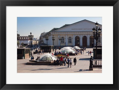 Framed Manezh Exhibition Center, Manezhnaya Square, Moscow, Russia Print