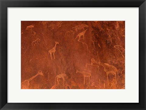 Framed Cave Paintings by Bushmen, Damaraland, Namibia Print