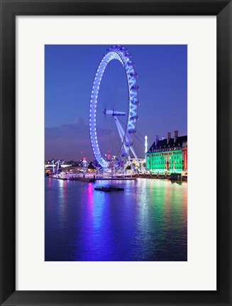 Framed Millennium Wheel, London County Hall, Thames River, London, England Print