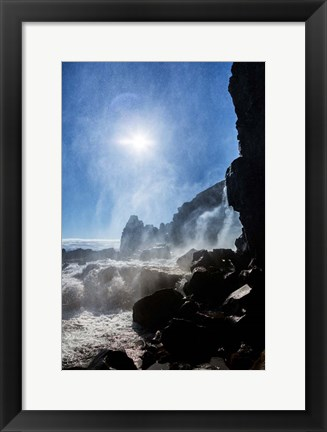 Framed Oxararfoss Waterfalls, Thingvellir National Park, Iceland Print