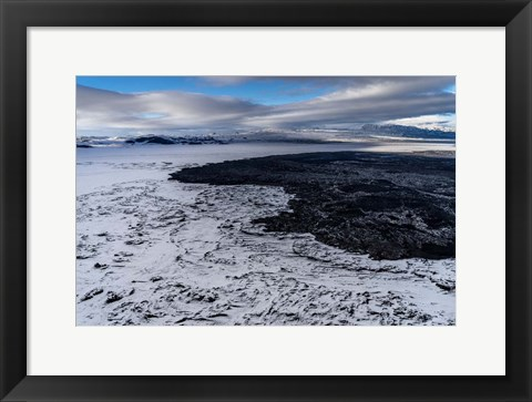 Framed Lava and Snow at the Holuhraun Fissure, Bardarbunga Volcano, Iceland. Print
